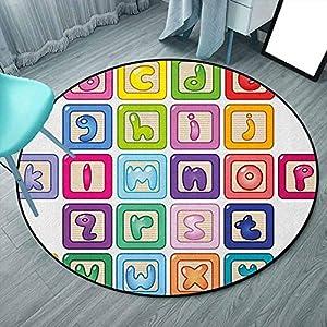 Alfombra suave y moderna para niños, para salón, dormitorio, sofá, mesita de noche, multicolor, educativa, colorida, bloques de alfabeto con letras de abecedario de estilo abc