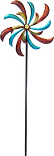 Alpine Corporation SLL1874 Curved Blade Windmill Stake-Kinetic Spinner Outdoor Yard Art Decor, 64-Inch Tall, Multicolor