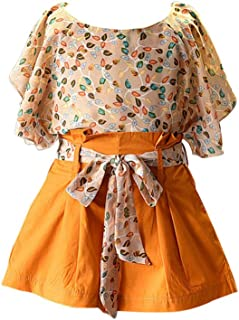 Hopscotch Girls Polyester Cute Floral Print Top and Short Set in Yellow Color