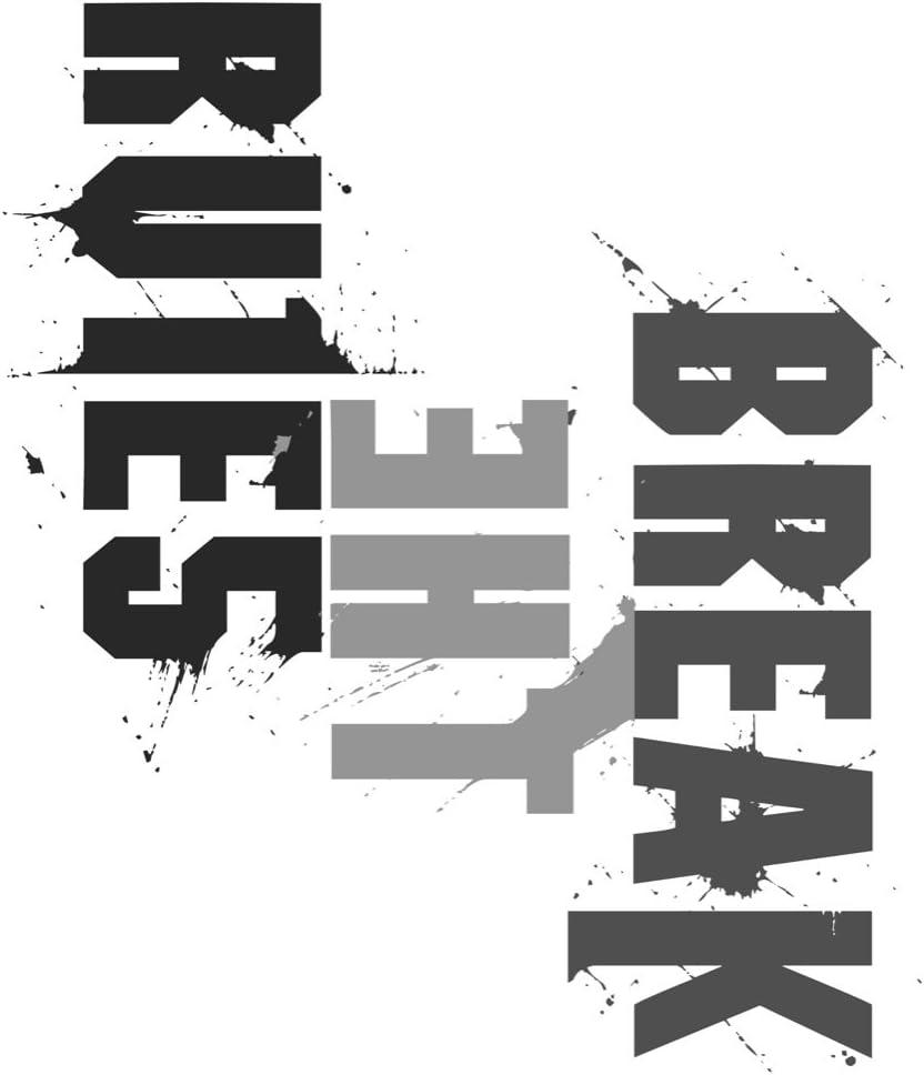 12x18 Break The Rules Print Word Art Splatter Paint Black White Fun Inspirational Motivational Horizontal Sign Large