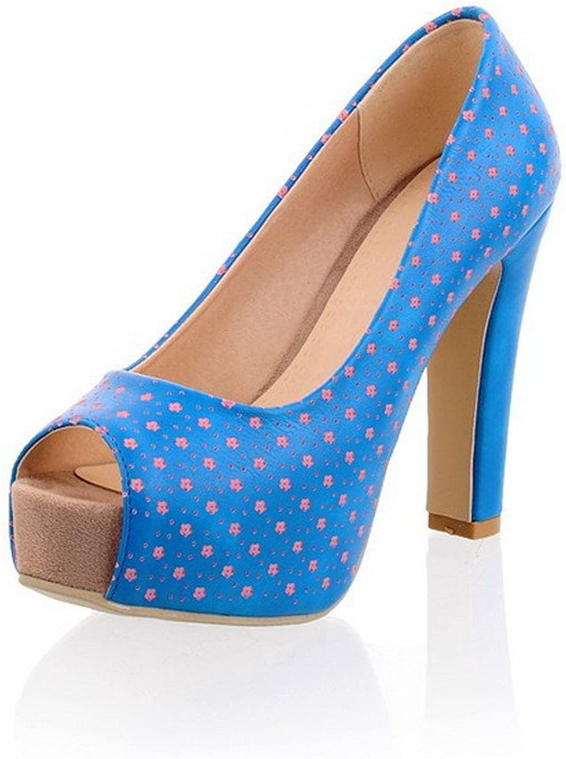 AmoonyFashion Women's Assorted color Soft Leather High-Heels Pull-on Peep-Toe Sandals