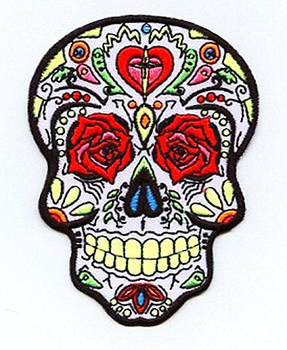 Day of The Dead Sugar Skull Dia De Los Muertos Iron on Embroidered Patch