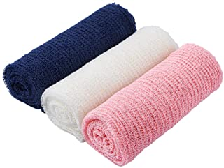 Pllieay 3 Pieces Newborn Stretch Wraps Baby Photography Props Long Ripple Wrap Blanket (White Pink and Navy)