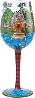 Enesco Designs by Lolita Lake House Artisan-blown Glass Wine Glass, 15 oz.
