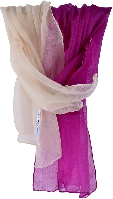 Agnona Scarf Women's Purple White Plain Cashmere 70cm x 48cm