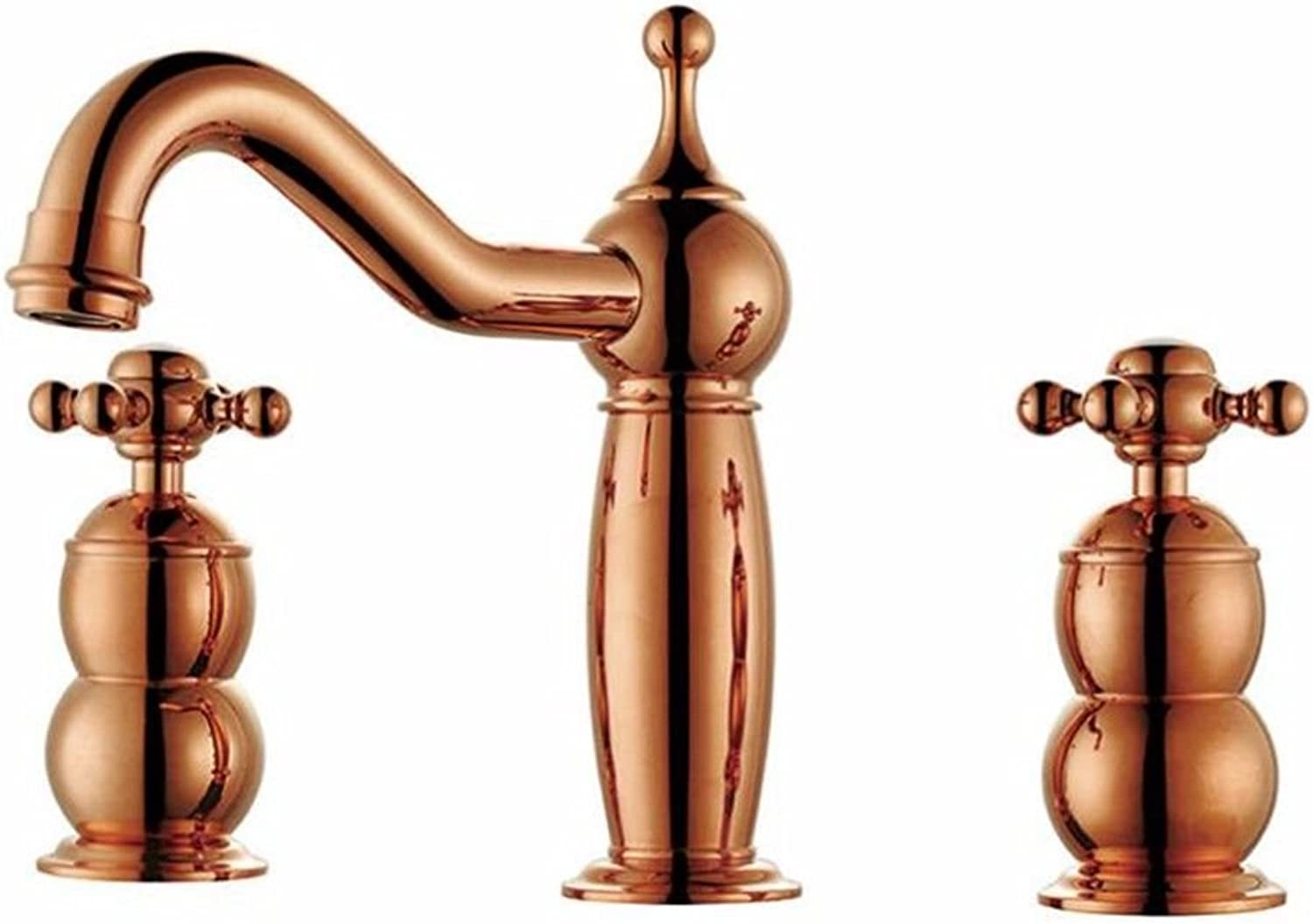 Lpophy Bathroom Sink Mixer Taps Faucet Bath Waterfall Cold and Hot Water Tap for Washroom Bathroom and Kitchen Copper gold A