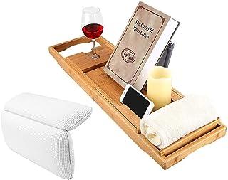 Rubik Bathtub Tray Caddy Shelf with Waterproof Bathtub Pillow For Neck Rest Back Support, Wooden Bath Tub Tray with Extend...
