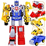 SNAEN 5-in-1 Construction Vehicles Transform into Robot Action Figures, Assemble into Giant Pull-Back Truck, for Kids, Boys & Girls