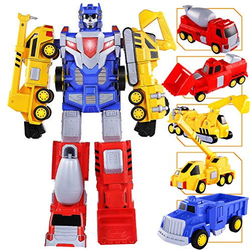 Toys for 4 5 6 7 Year Old Boys - Construction Vehicles Transform Robot Kids Toys, STEM Building Toddler Toys for Kids Ages 4-8 w/ Pull-Back Toys, SNAEN 5-in-1 Trucks Gifts for Boys Girls