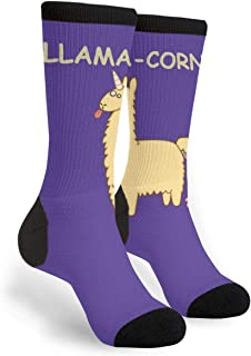 Women's Men's Fun Novelty Crazy Crew Socks Llama-corn Dress Socks