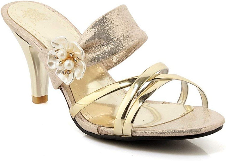 Beautiful - Fashion Women's Flower Crisscross Dress Slip On Slide Sandals Open Toe Stiletto Kitten Heels shoes