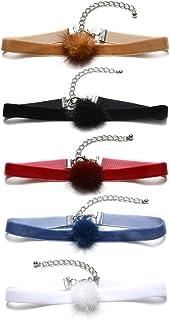 Mingjun 5pcs Cute cinta terciopelo Hairball chokers Set colores blanco azul rojo negro marrón collares para las mujeres niñas