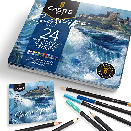Castle Arts Themed 24 Colored Pencil Set in Tin Box, perfect colors for Seascapes. Featuring, smooth colored cores, superior blending & layering performance achieving great results