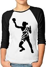 DonSir Table Tennis Female Tribal Women 3/4 Sleeve Raglan T-shirt Black