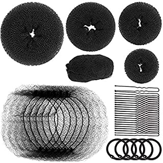 Teenitor Hair Bun Maker Set with 25pcs Black Hair Net, 4pcs Hair Donuts Sock Buns (1 Small 2 Medium 1 Large 1 Extra-large), 20pcs Hair Bun Bobby Pins, 5 pieces Elastic Hair Ties