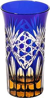 江戸切子 六角籠目紋 一口ビールグラス(琥珀ルリ)TB91606AB 木箱入り 太武朗工房直販 日本製