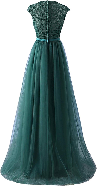 Babyonlinedress® Abendkleider Elegant für Hochzeit Tüll Applique Langes Ballkleid Brautjungfernkleid EU 32-46 Dunkelgrün