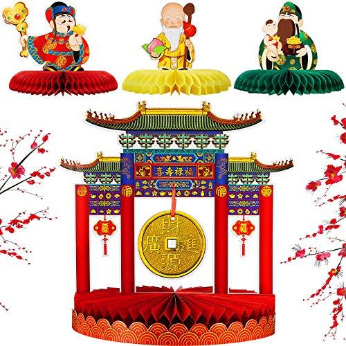 Sumind 4 Centrotavola Gong Asiatico Centrotavola di Capodanno Cinese Centrotavola a Nido d'Ape Festival di Primavera Decorazioni di Capodanno Cinese per Tavola Feste di Primavera