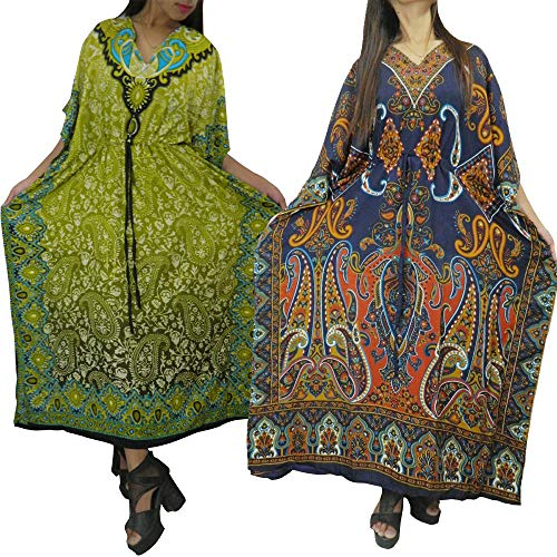 Ukal Combo Pack of 2 Women's Kaftan Dress Beach Ladies Sleepwear Night Gown Robe V-Neck Cover Up Night Wear (Multicolor, Free Size)