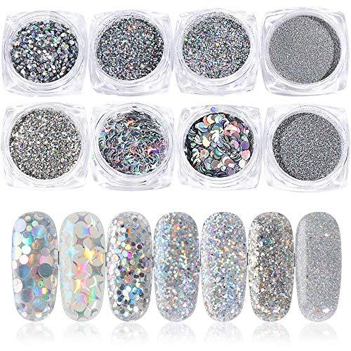 Glitzerpuder Nägel, Glitzerpulver Nägel 8 Boxen Nagelpuder Set, Nail Art Glitter Puder Pailletten Holografische Chrom-Pigmente Nageldekoration Glitzerpuder für Nagelkunst
