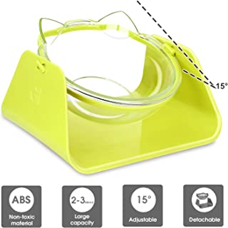 DHAWS Raised Cat Bowl, 15 Degrees Tilted Adjustable Anti-Overturn Pet Feeder for Small Cat and Dogs