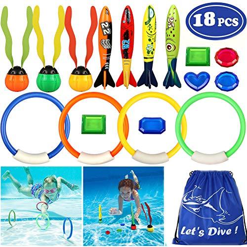 vamei Unterwasser Schwimmen Tauchen Sinking Pool Toy Ringe Torpedo Banditen Schwimm Streamer Edelsteine Sets Schwimmen Spiele Training Geschenk für Kinder Jungen Mädchen