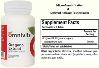 Omnivits Oregano Extract Micro – Emulsion SR | 50mg Emulsified Oregano Oil from Leaf| Carvacrol Thymol | Powerful Antioxidant | Healthy Digestive Flora & Microbial Balance | Sustained Release | 120T