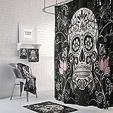 Alicert5II Zuckerschädel-Duschvorhang-Tag der DeadBlack weißen rosa Distel mit Blumen