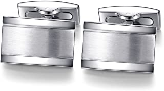 Rectangle Cufflinks for Mens Steel Business Wedding Gift