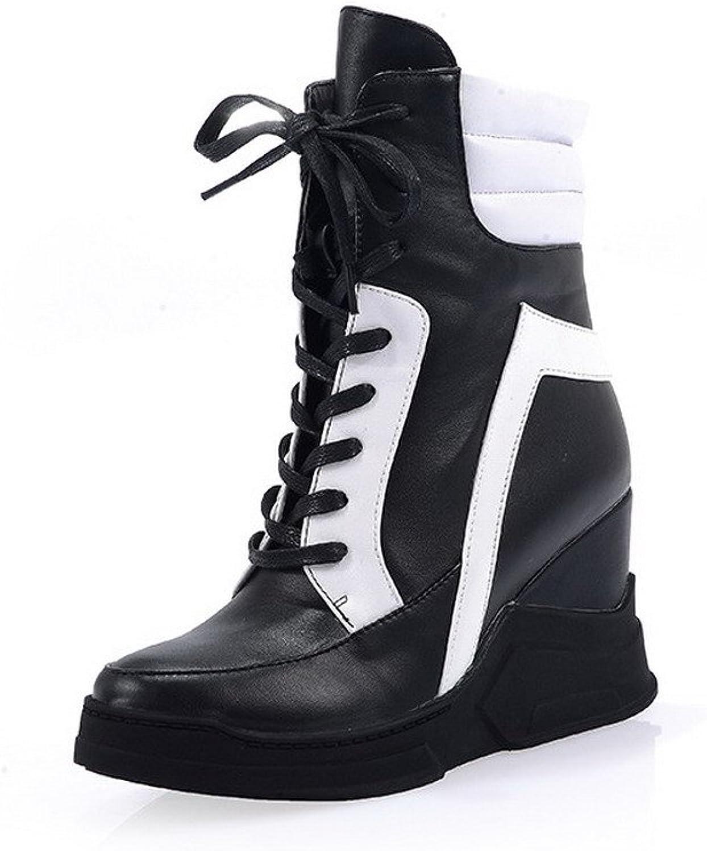AllhqFashion Women's High-Heels Round Toe Blend Materials Low-top Boots