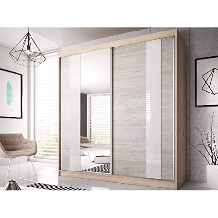 E-MEUBLES Armoire de Chambre avec 2 Portes coulissantes, Miroir et Verre Blanc   Penderie (Tringle) avec étagères (LxHxP): 183x218x61 Ben 32 (Sonoma)
