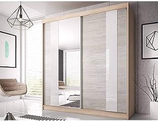 E-MEUBLES Armoire de Chambre avec 2 Portes coulissantes, Miroir et Verre Blanc | Penderie (Tringle) avec étagères (LxHxP):...