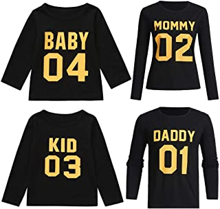 c541aa661e Lurryly❤Matching Family T-Shirt Kids Long Sleeve Number Letter Tops Set  Holiday Couples