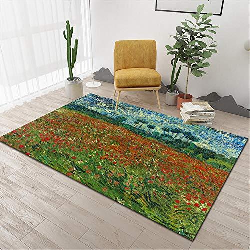 Kunsen La alfombras Resistente al Desgaste Diseño Moderno Comedor Alfombras Azul Verde Rojo Estilo Pintura al óleo Tinta Graffiti Estampado Floral Creativo La Alfombra 100 * 160cm