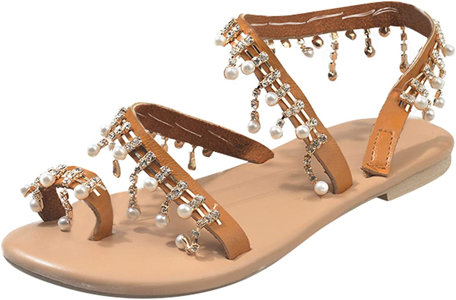HIBANIL Sandals for Women Dressy Summer,Boho Flower Lace Ring Toe Flat Crystal Pearl Beach Sandals Roman Shoes
