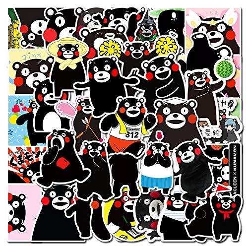 CHENX Bolso de Emoji de Dibujos Animados, calcomanía de Oso Negro, Maleta, portátil, monopatín, Guitarra, Pegatina Impermeable, 50 Piezas