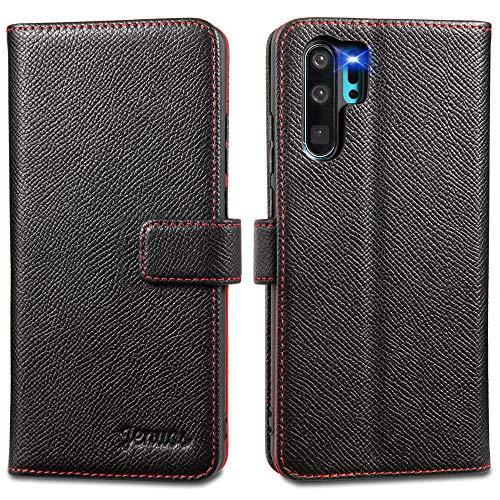 Jenuos Cover Huawei P30 Pro/P30 PRO New Edition, Vera Pelle Flip Libro Custodia a Portafoglio Folio Telefono con Magnetica Chiusa per Huawei P30 PRO - Nero (P30P-EG-BK)
