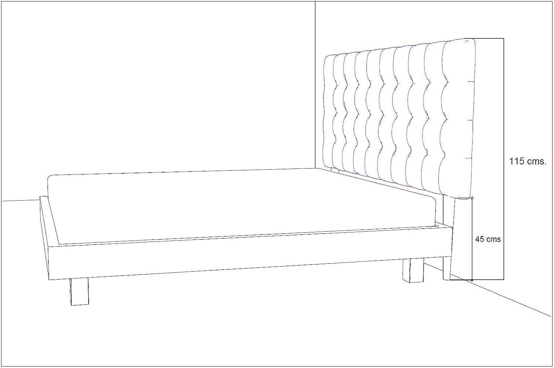 Incluye herrajes para Colgar con regulador de Altura Cama 80 90 x 115 cms Polipiel Color Beige LA WEB DEL COLCHON Cabecero tapizado Acolchado Brigitte para Patas de Madera