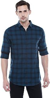 Dennis Lingo Men's Checkered Teal Blue Slim Fit Casual Shirt