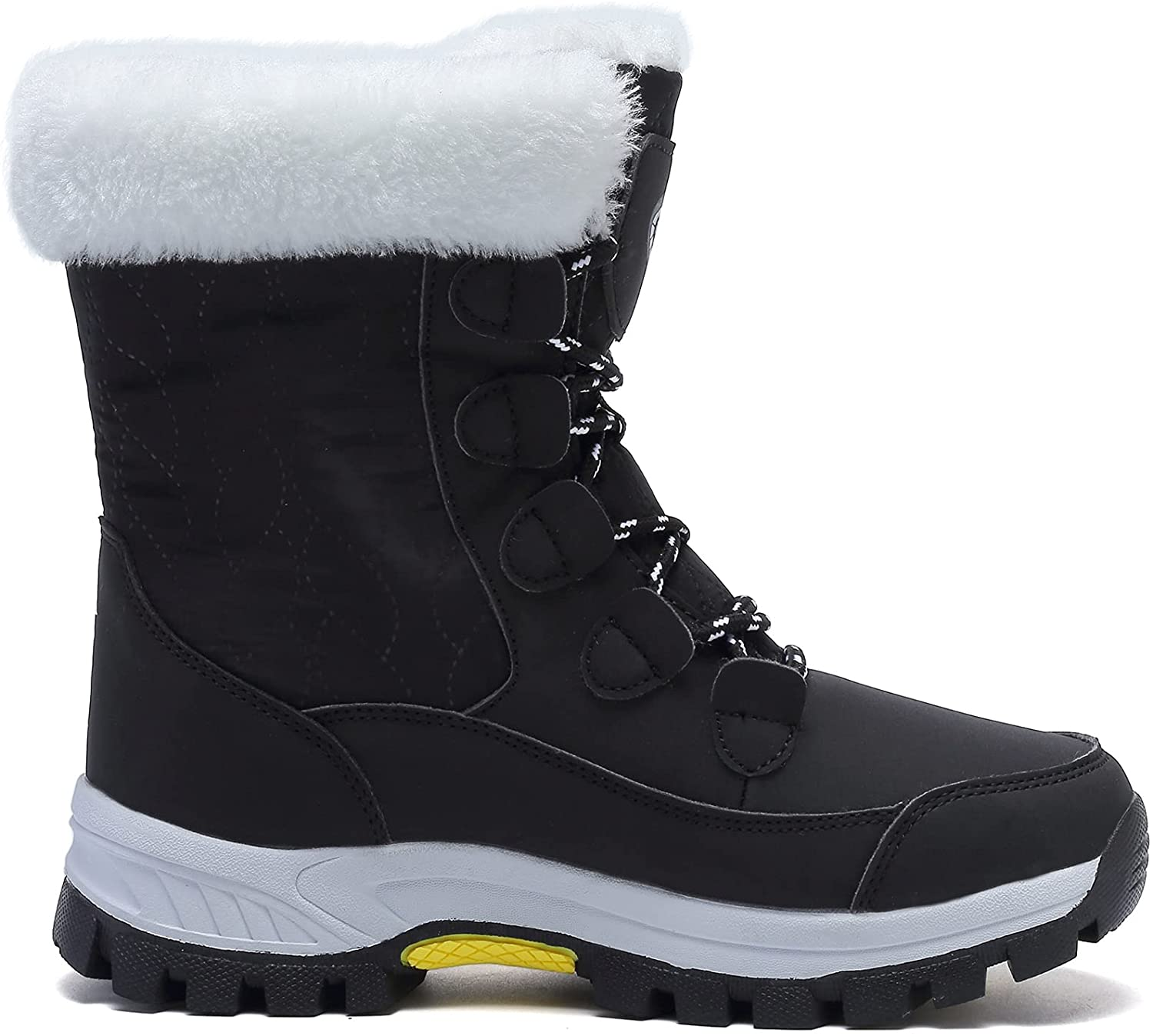 Womens Snow Boots Warm Fur Lined Winter Boots Anti Slip Ankle Boots Mid Calf Snowboots Waterproof and Cold-Resistant Outdoor Walking Shoes for Women Ladies Girls