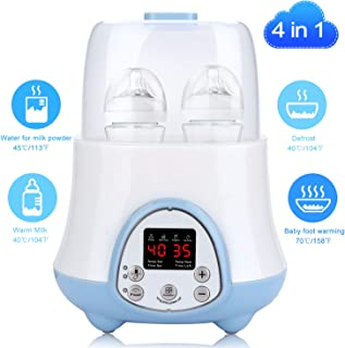 Bottle Warmer Milk Wipe Warmer Baby Bottle Warmer for Breastmilk Baby Food Warmer with 4 in 1 Formula Warmer Defrost Reservation Functions with LCD Real-time Display Fit Most Brands Baby Bottles