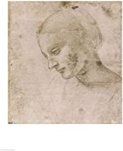 Head of a Young Woman or Head of The Virgin by Leonardo Da Vinci Art Print, 24 x 32 inches