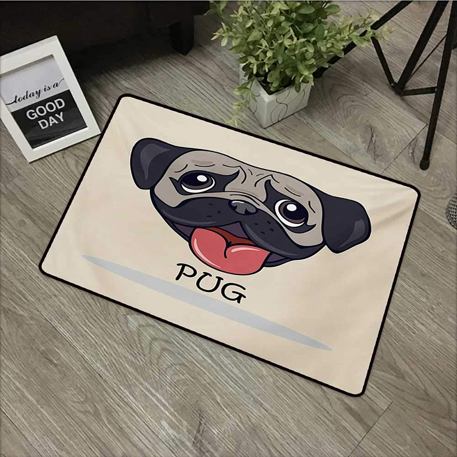 Interior mat W35 x L59 INCH Pug,Cartoon Pug Dog Caricature with Its Tongue Out Happy Face Animal Fun Illustration,Taupe Black Red Non-Slip, with Non-Slip Backing,Non-Slip Door Mat Carpet