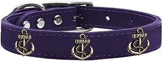 Mirage Pet Products 83-102 Pr26 Bronze Anchor Widget Genuine Leather Dog Collar, Size 26, Purple