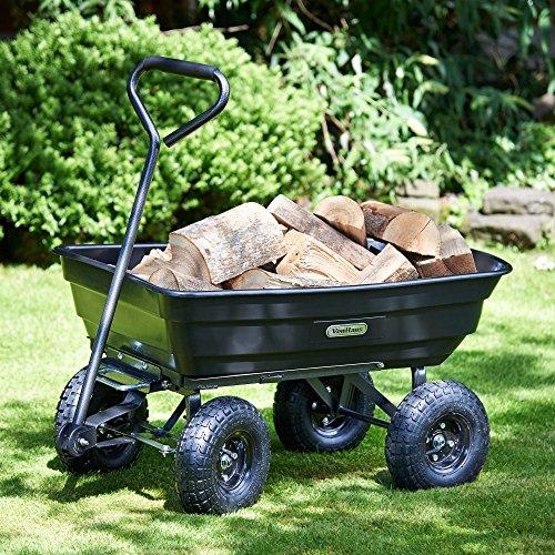 VonHaus 75L Garden Tipping Cart Dump Truck Wheelbarrow Trolley