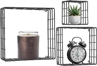Sorbus Floating Square Shelves (Metal Square - Black)