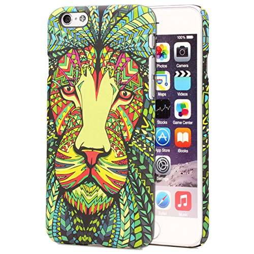 Urcover Cover Tatoo Back Case | Custodia Tribale Apple iPhone 6 / 6s | Custodia Fantasia in Silicone Rigido con Disegni Leone | Protezione Retro Arte Animali Multicolore
