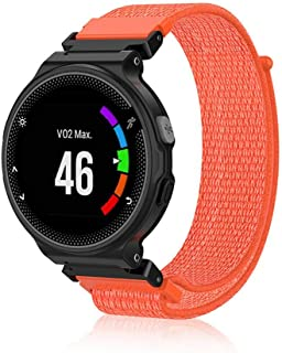 Nylon Band Compatible with Garmin Forerunner 220/230/ 235/630/ 620/735 - Hamkaw Soft Woven Adjustable Replacement Strap Smart Watch Accessories for Women Men Orange