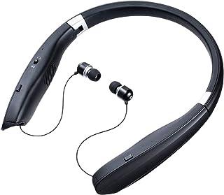 サンワダイレクト ネックスピーカー イヤホンモード搭載 超軽量77g Bluetooth5.0 折りたたみ apt-X対応 通話対応 400-BTSH017BK
