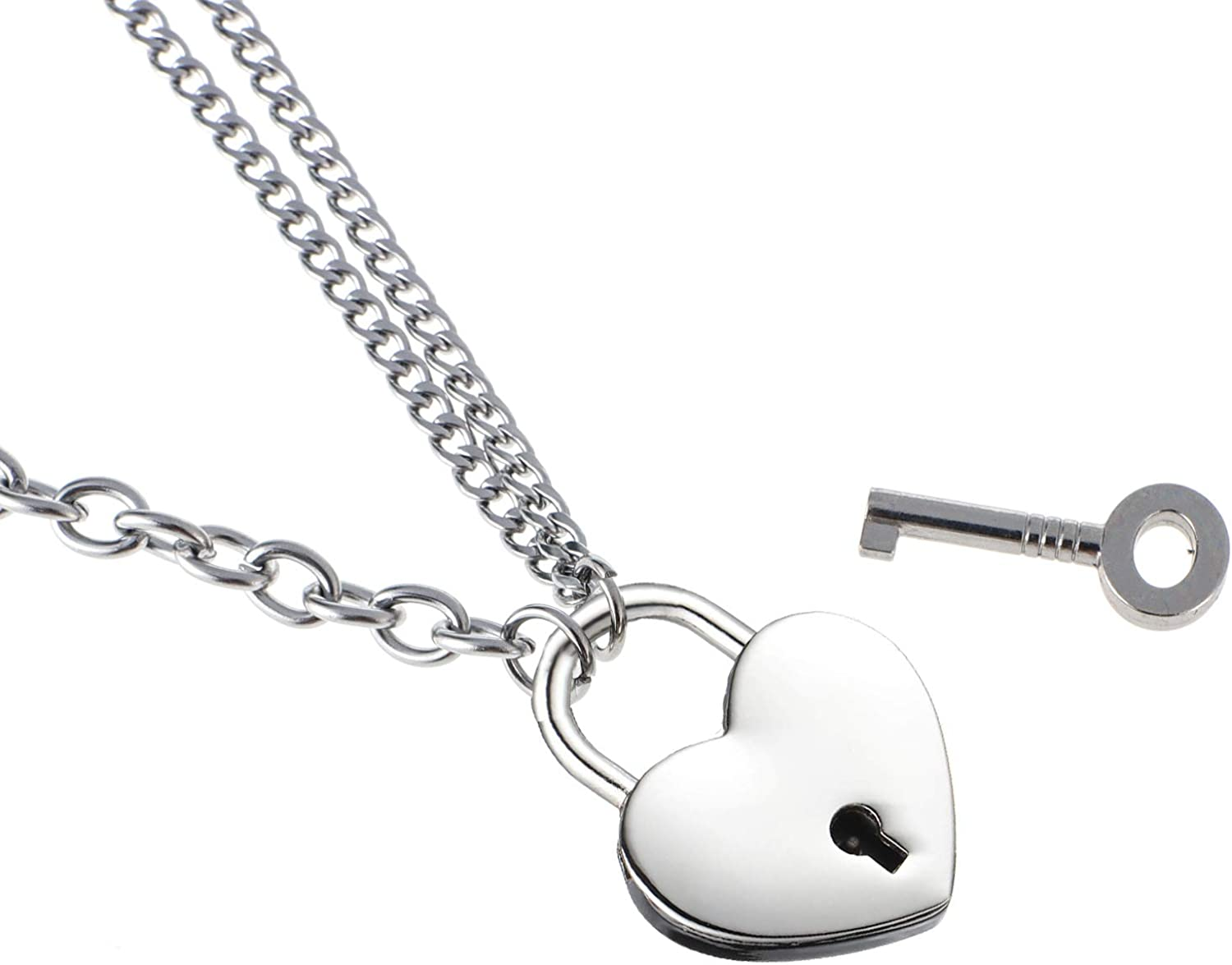 LEWECEEO Lock Necklace Stainless Steel Collar Byzantine Chain Necklace Heart Padlock Necklace for Women Men